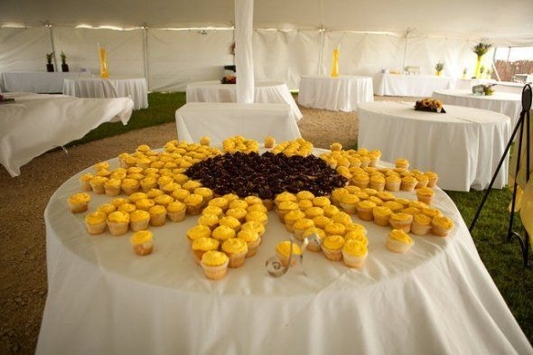 sunflower cupcake centerpiece - this would be so much easier than ...