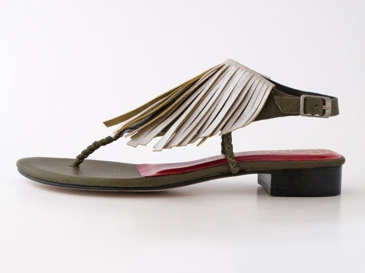 Cerce fringed and plaited leather sandal in khaki and soft silver #pzdvintage