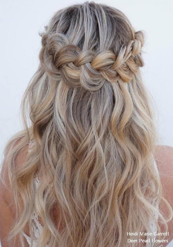 Half up half down wedding hairstyles from Heidi Ma…