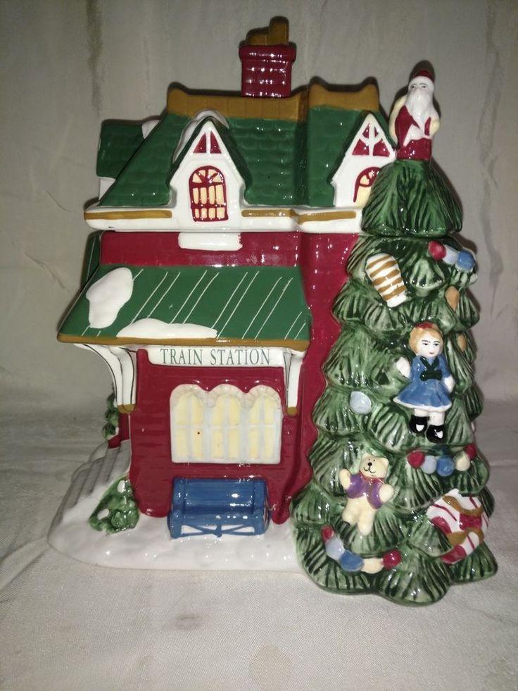 Spode Christmas Tree Village Train Station Cookie Jar 2002