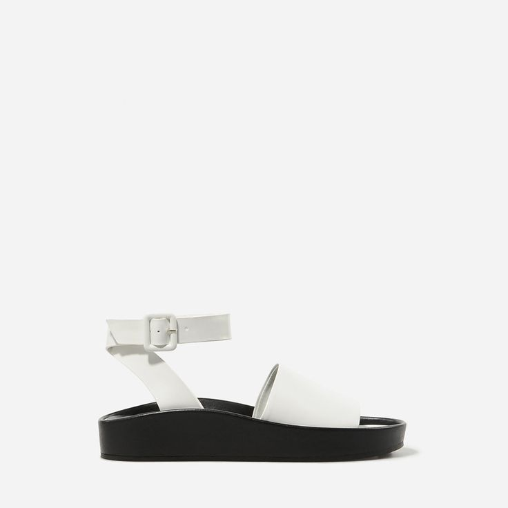 Raised Edge Sandals - White - Flats - Shoes | CHARLES & KEITH