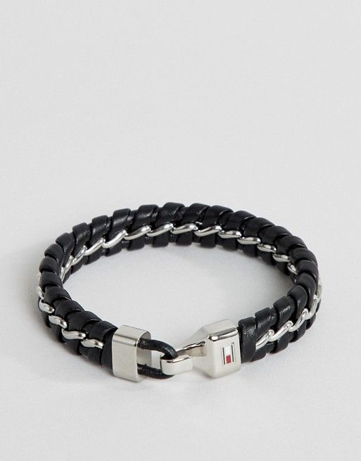 11e790fd14961 Tommy Hilfiger metal chain & braided leather bracelet in black ...