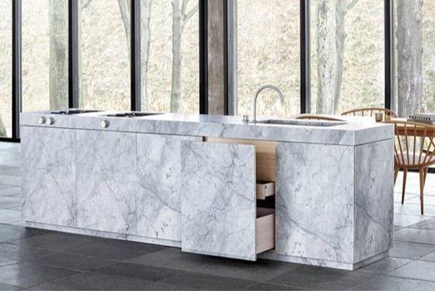 cocina de mármol de Carrara