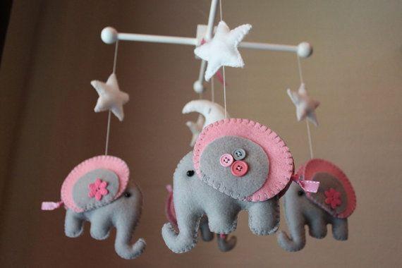 elephant felt mobile