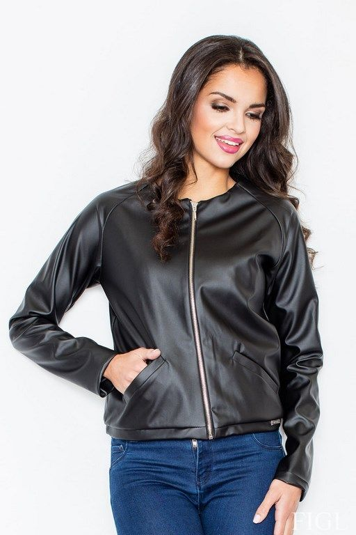 Black leather baseball jacket with ribbing