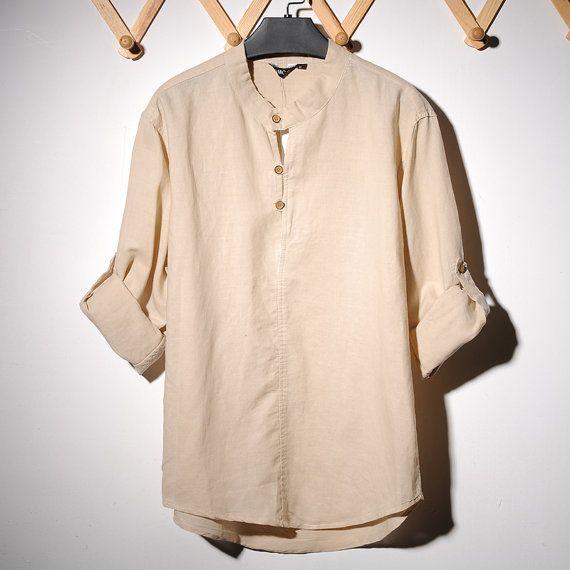 2014 NEW mens  Nehru / Mandarin Collar shirt by LittleLilbienen, $55.00