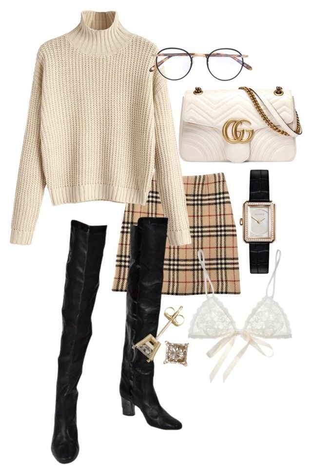 """Untitled #22954"" by florencia95 ❤ liked on Polyvore featuring Burberry, Gucci, Karl Lagerfeld, Garrett Leight, Hanky Panky and Chanel"