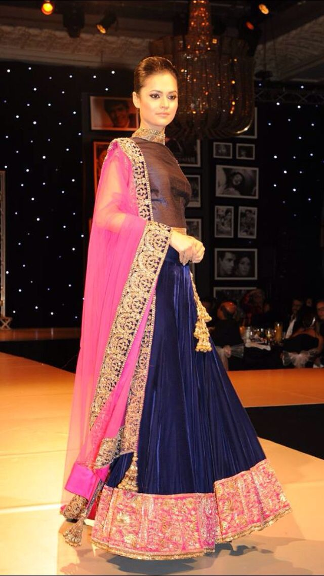 London charity ball. Navy blue designer anarkali dress suit with pink trim and gold embroidery. #blueanarkali #designeranarkali #anarkali