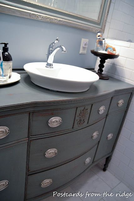 buffet turned bathroom vanity