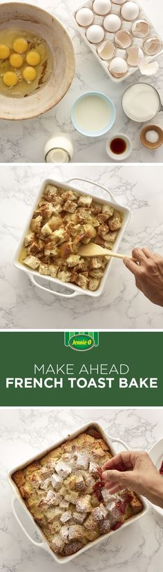 A little work the night before will pay off the next morning when you wake up to the best brunch ever. | Make Ahead French Toast Bake with Candied Turkey Bacon