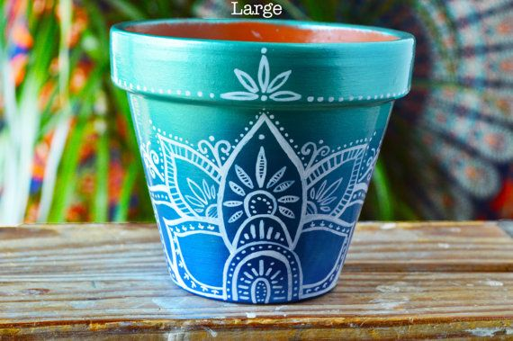 Handpainted Ombre Bohemian Pots Boho by MysticCompanyDecor on Etsy