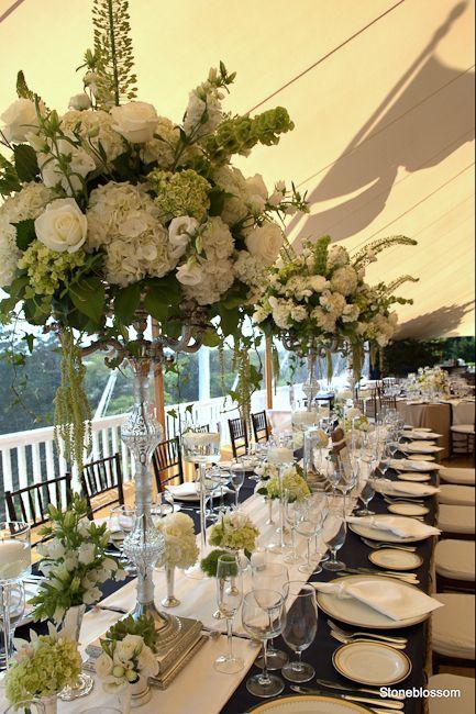 white hydrangea, green viburnum, large white roses, veronica, bells of Ireland, hanging amaranthus, and ...?