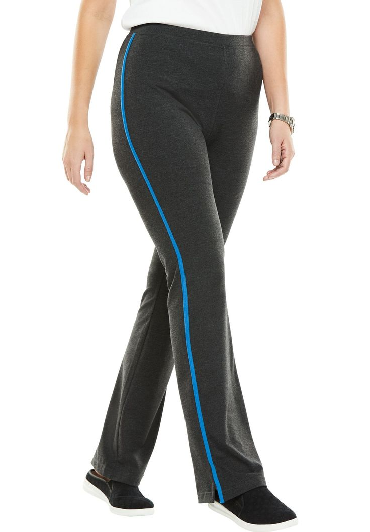 Petite Stretch bootcut yoga pants with side stripes - Women's Plus Size Clothing