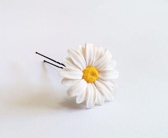 Daisies White Flower - Wedding Hair Accessories, Bohemian Wedding Hairstyles Hair Flower