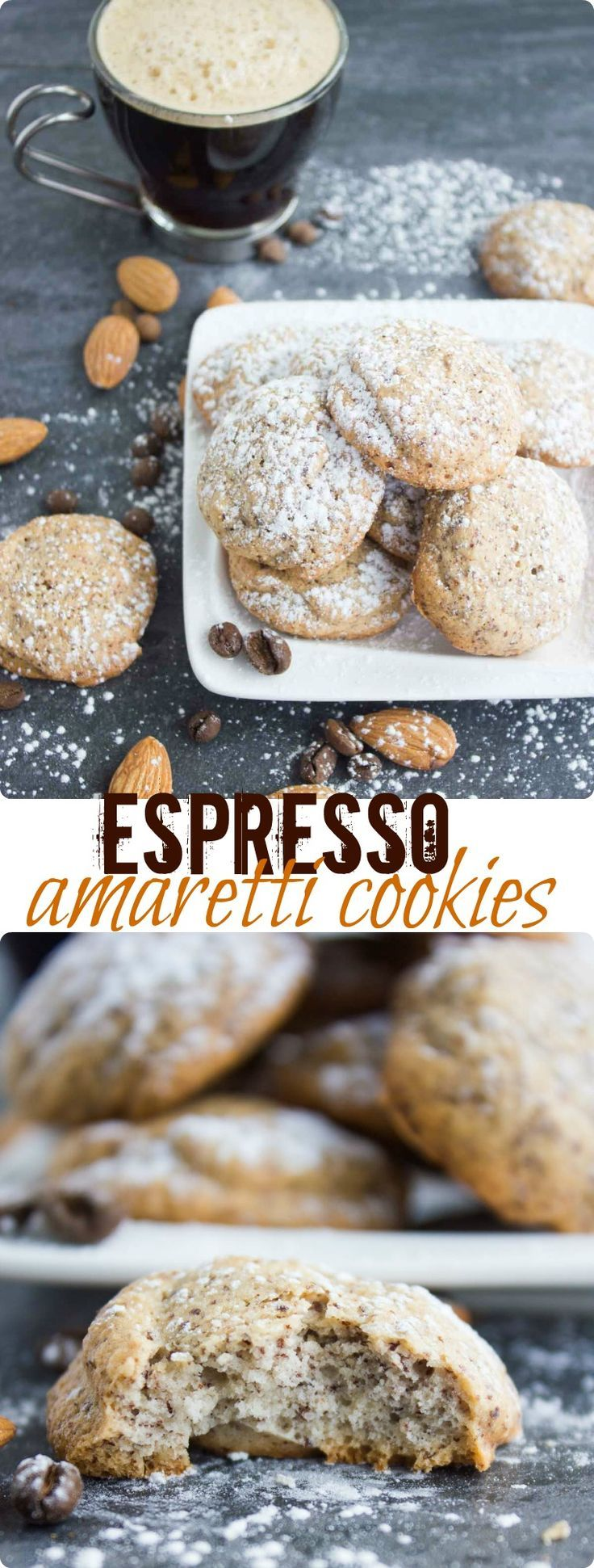 Espresso Amaretti Cookies. These are an Italian Almond DREAM made heavenly with ESPRESSO! Fat free, light as air, slightly crunchy on the outside, soft and airy on the inside--absolute amaretti LOVE! Get the recipe with step-by-step photos now! www.twopurplefigs.com