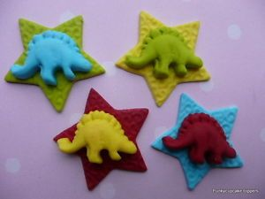 12 funky dinosaur stars,edible cake/cupcake toppers by Emma