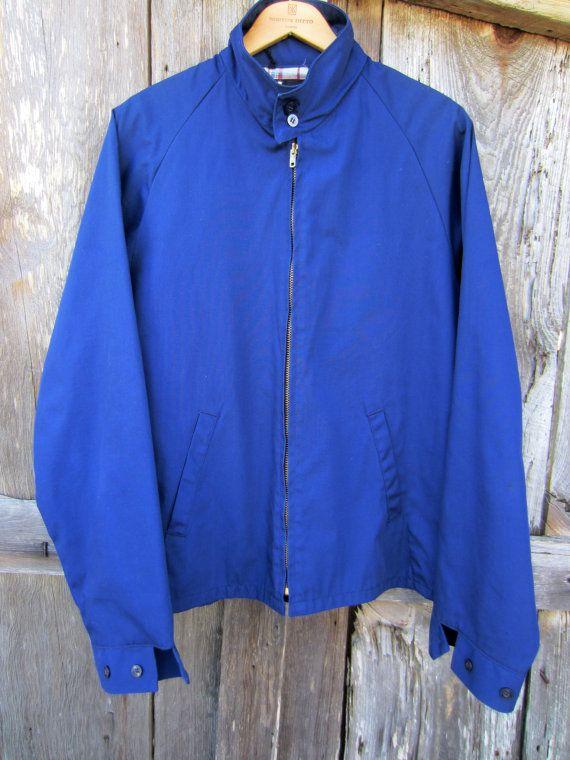 70s does 50s Sears Sportswear Navy Windbreaker Jacket, Men's L // Vintage Crop Lined Jacket