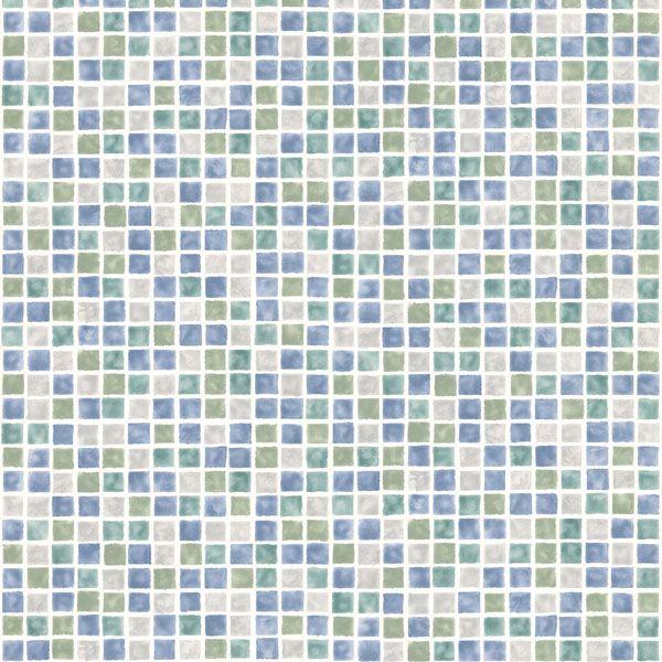 436-58753 Blue Sea Glass Tiles - Harbor - Brewster Wallpaper