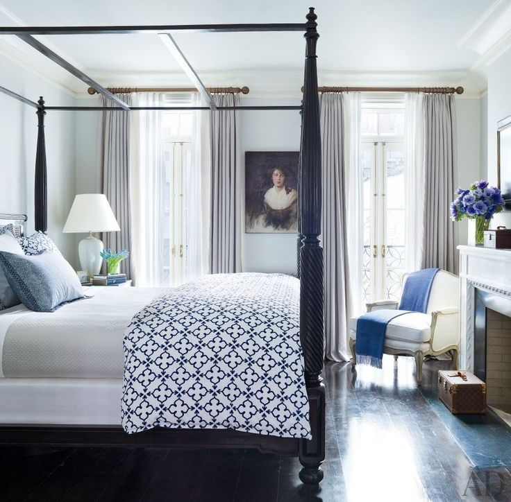 In the master bedroom of Brooke Shields's Manhattan townhouse, an Edwardian oil portrait that was purchased in London accents the wall   archdigest.com
