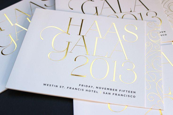 Haas Gala invitation suite || Jody Worthington. Gold foil and metallic ink.