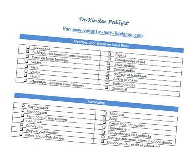 De Vakantie Paklijst voor kinderen