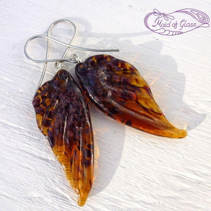 #lampwork #fairywing earrings in amber brown handmade by MaidofGlass.co.uk