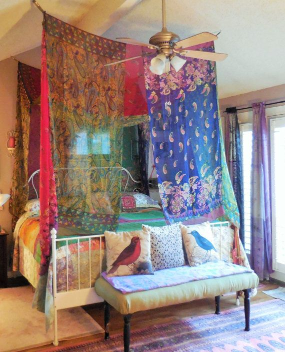 Gypsy Bohemian Bed Canopy Room Tent by BabylonSisters on Etsy