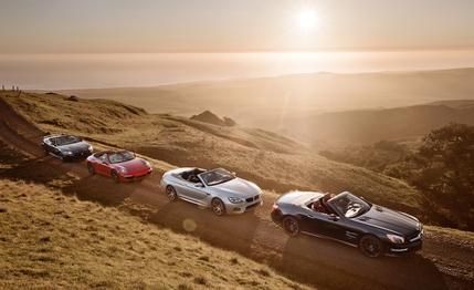 2013 #BMW #M6 #Convertible vs. 2013 #Jaguar #XKR-S Convertible, 2013 #Mercedes-Benz #SL63 #AMG, and 2013 #Porsche #911 #Carrera S Cabriolet  Barons: William Randolph Hearsts backyard plays host to a European summit of luxurious sports convertibles.
