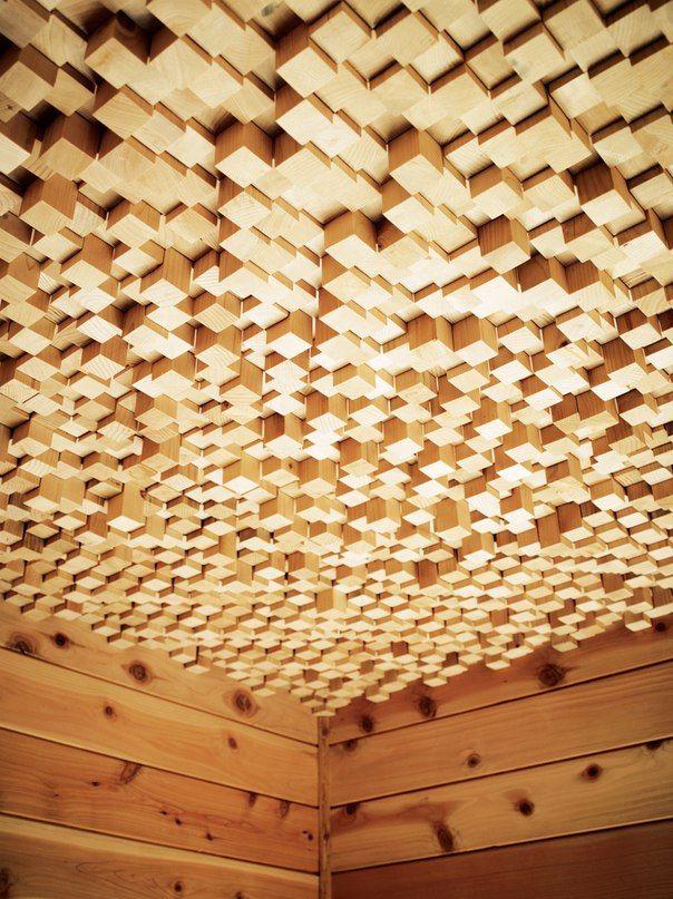 потолок из брусочков