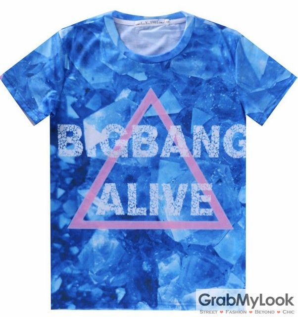 GrabMyLook Blue Bigbang Alive Triangle Mens Short Sleeves T Shirt