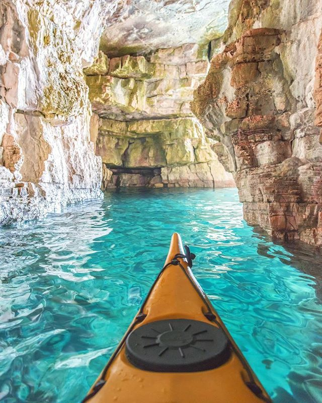Kayaking in Blue Cave at  Pula Istria Croatia