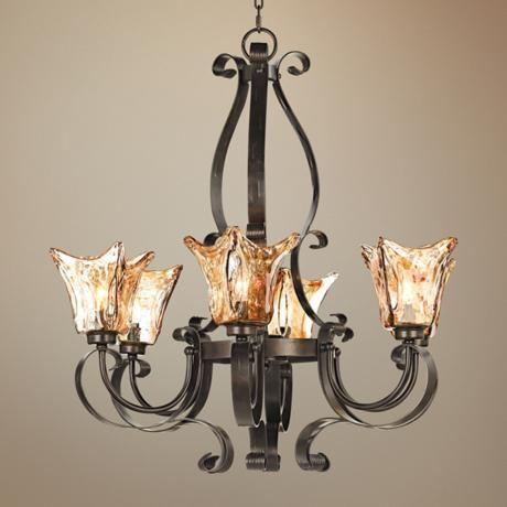 Uttermost vetraio collection 31 wide 6 light chandelier for Hacienda style lighting
