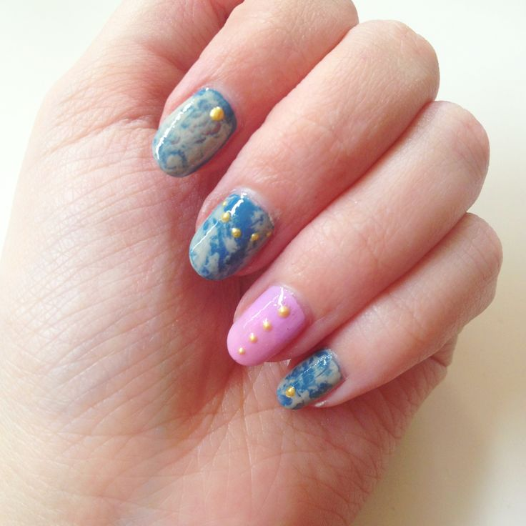 Studded Acid Wash nail art #sephoranailspotting