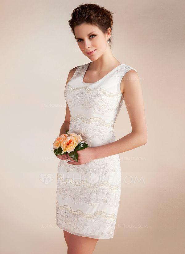 Forme Fourreau Col rond Courte/Mini Mousseline Robe de mariée avec Dentelle Emperler (002012815)
