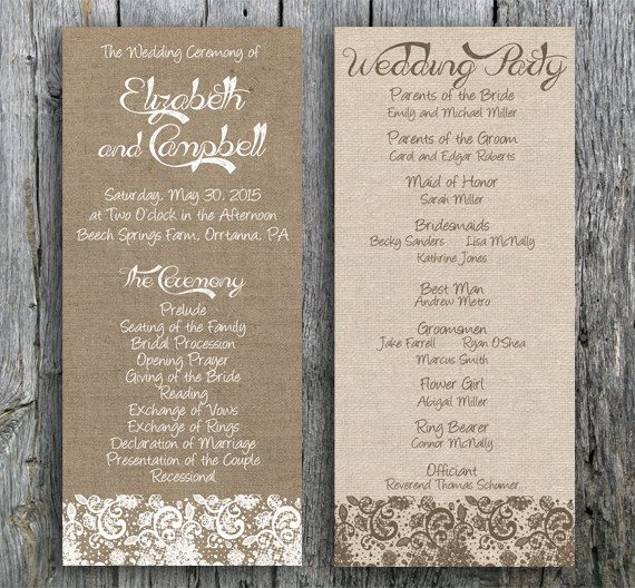 burlap and lace wedding ceremony program perfect for a rustic