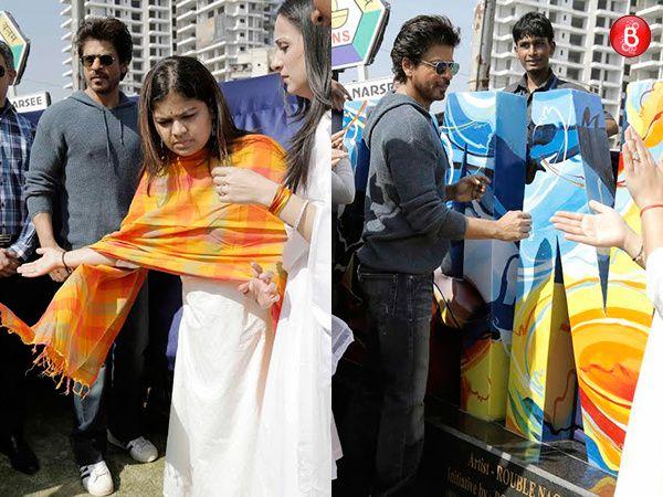 PICS: Shah Rukh Khan makes his way to inaugurate a sculpture in Bandra