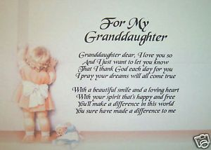 poems for 18th birthday granddaughter | PERSONALISED POEM FOR GRANDDAUGHTER - LAMINATED GIFT