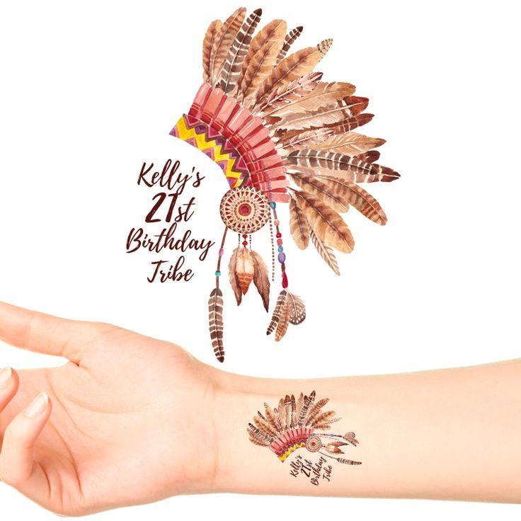 Boho Headdress Birthday Temporary Tattoos #1125 (20 pack)