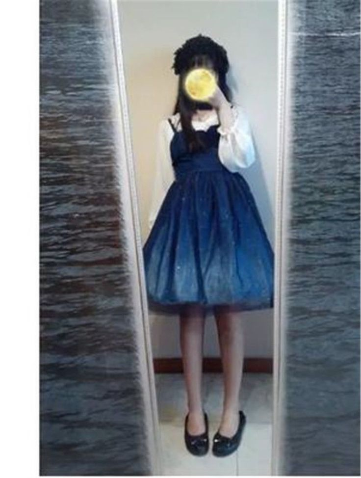 City Of Stars Star Fairy Bronzing Gradient Skirt Lolita Mini Dark Blue Dress