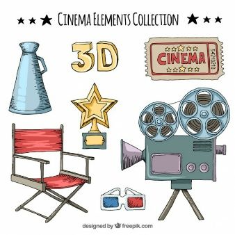 Collection of hand drawn cinema element