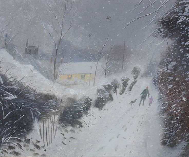 Nicholas Hely Hutchinson (b.1955) — Snow in the Lane (800x664)