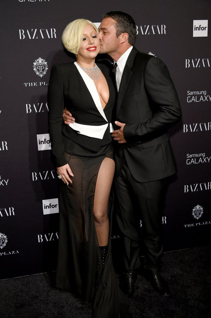 Pin for Later: Lady Gaga and Taylor Kinney Are All About the PDA  In September 2014, she couldn't help but smile when Taylor gave her a kiss at a Harper's Bazaar event in NYC.