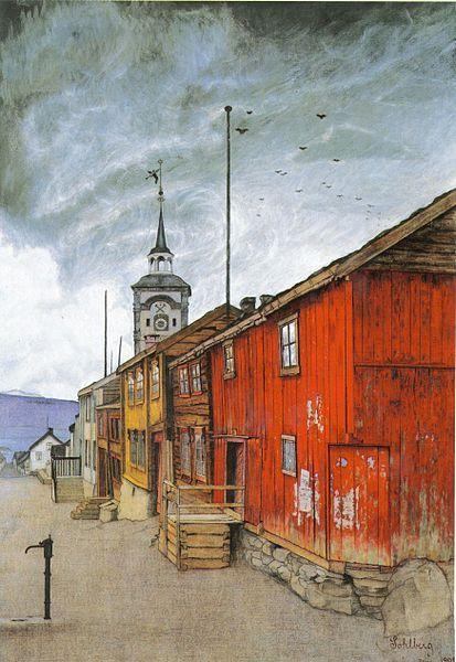 Harald Sohlberg (1869-1935) - Røros - From Røros (Lillegaten), 1902