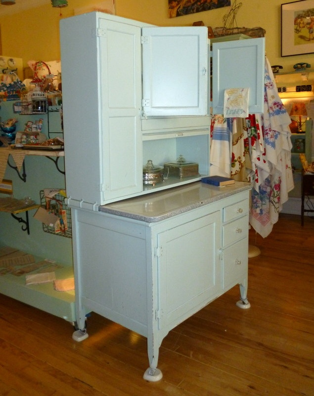 Pale Robin's Egg Blue Hoosier Cabinet by Sellers Kitchen Cabinets, Circa 1900s. $595.00, via Etsy.
