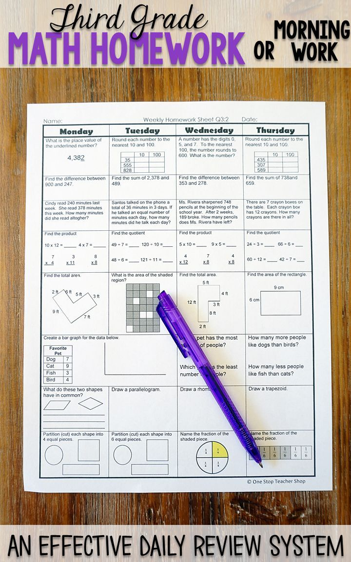 Third grade math homework or morning work that provides a daily review for 3rd grade math standards. This Third grade spiral math review resource is fully EDITABLE and comes with answer keys and a pacing guide.