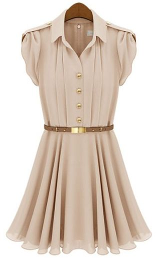 Pink Lapel Buttons Bandeau Pleated Chiffon Dress