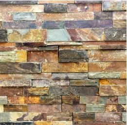 Copper Rust Slate Ledgestone Fireplace Stacked Ledge
