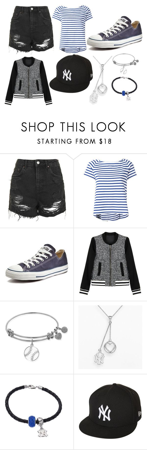 """""""Baseball Yankees"""" by thisisalle on Polyvore featuring Topshop, Sacai, Converse, WithChic, LogoArt and New Era"""
