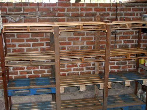Pallet shelvesGarages Shelves, Pallet Shelves, Storage Shelves, Pallets Shelves, Pallets Furniture, Wooden Pallets, Diy, Pallets Projects, Shelves United