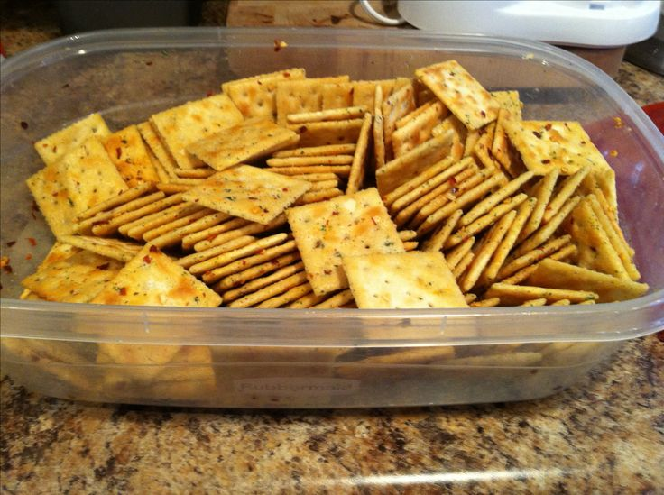 -Cowboy crackers- 1 Box Saltine Crackers 1 Cup Canola Oil 1 Tablespoon Crushed Red Pepper or Cayenne Pepper 1 Package Dry Ranch Mix Canola Oil, Pepper, and Ranch together Put crackers in mix and shake every 15 minutes for one hour. (Easiest way to mix is in a ziplock bag!!)